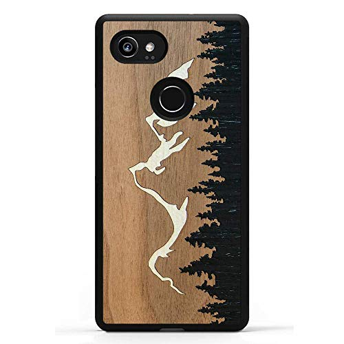 Carved | Google Pixel 2 XL | Luxury Protective Traveler Case | Unique Real Wooden Phone Cover | Rubber Bumper | Grand Teton Inlay