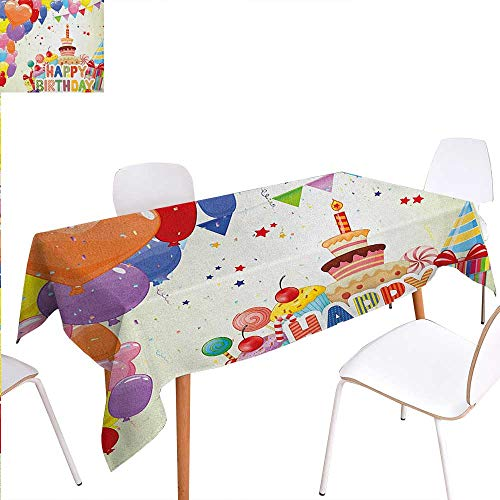 Warm Family Birthday Patterned Tablecloth Heart Shaped Funny Balloons Cupcakes Candies Presents and Party Hats Occasion Dust-Proof Oblong Tablecloth 70