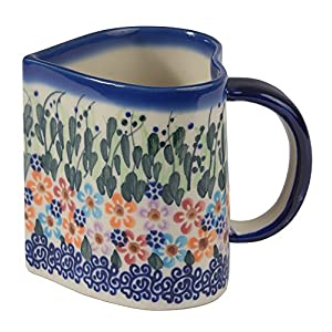 Traditional Polish Pottery, Handcrafted Ceramic Heart-shaped Mug (250ml / 8.8 fl oz), Boleslawiec Style Pattern, Q.801.DAISY