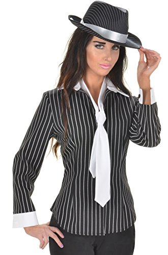 Pinstripe Corset (Underwraps Women's Gangster Fitted Shirt, Black/White, Small)