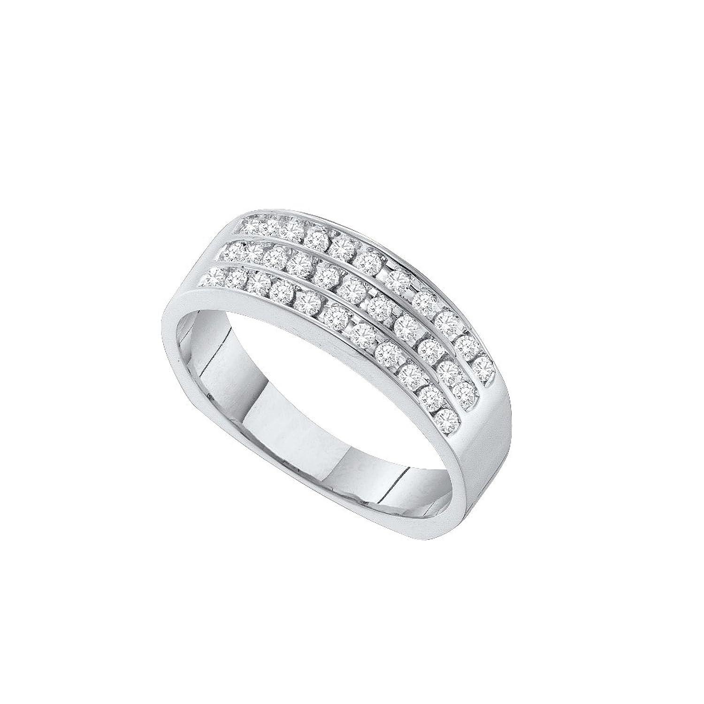 14kt White Gold Mens Round Pave-set Diamond Triple Row Wedding Band 1/2 Cttw (I2-I3 clarity; I-J color)