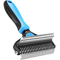 Pet Grooming Brushes, Dematting Comb Tool for Cats & Dogs, 2 in 1 Deshedding Brush & Pet Undercoat Rake - Comb Out Mats…