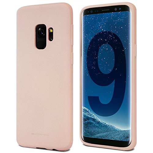 Galaxy S9 Case for Samsung Galaxy S9, [Thin Slim] GOOSPERY [Flexible] Soft Feeling Jelly [Matte Finish] Silky TPU Rubber Liquid Gel Silicone Case [Lightweight] Bumper Cover, Pink Sand, S9-SFJEL-PSND