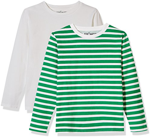 Kid Nation Kids' 2-Pack Long-Sleeve Crew-Neck T-Shirt for Boys or Girls XS White+White/Green