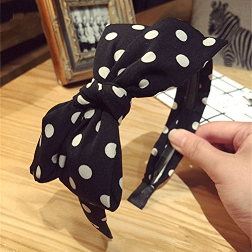 MONOMONO-Popular Lady Girls Fabric Cute Sweet Big Ribbon Bow Non-slip Wide Hair Headband - U Mall Village