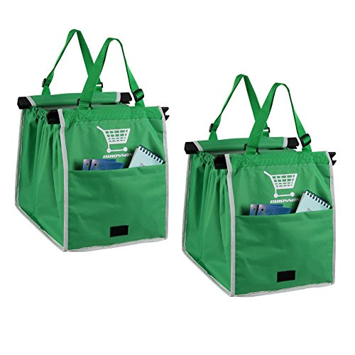 ORICSSON 2 Packs Foldable Nylon Reusable Eco-friendly Shopping Bag for Supermarket Cart, - In Galleria Mall Stores