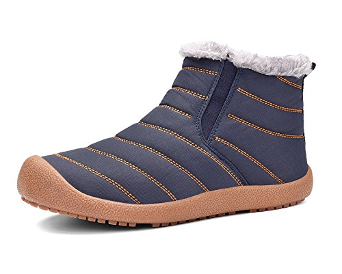 - Sanyge Men's Fully Fur Lined Snow Boots Waterproof Warm Ankle Boot Non-Slip Winter Shoes High Top(Sanyge6822Blue45-1)