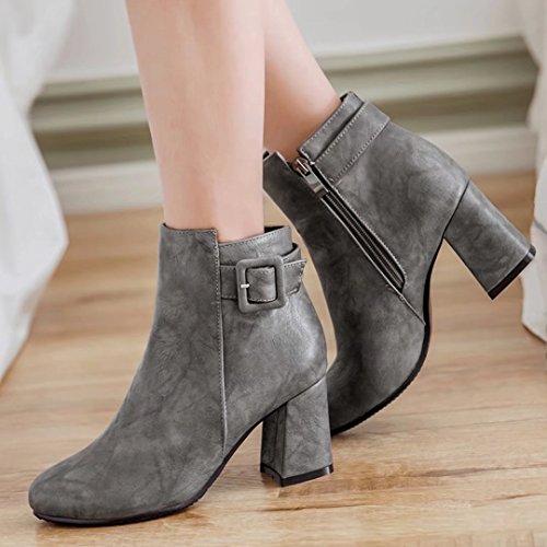 Gray Boots AIYOUMEI With Ankle Womens Autumn Winter Buckle Heel Block Booties xnaAwTqpf