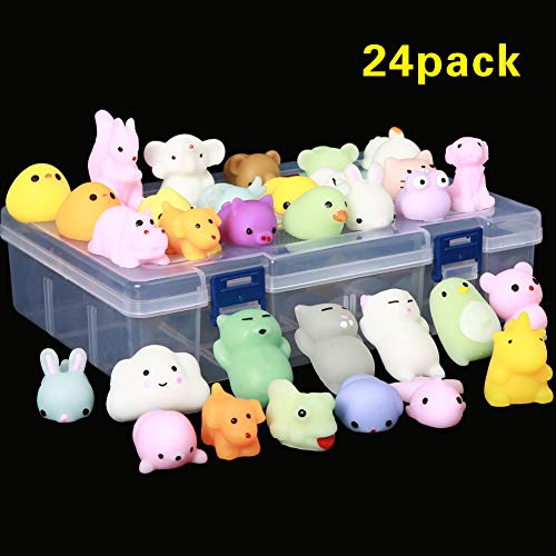 24Pcs Mochi Squishy Toys, Mochi Kawaii squishies Toys Gifts for Party Favors for Kids, Mini Supper Cute Animals Stress Relief Toys Squeeze Toys Squishy Easter Egg fillers Toy Easter Basket Stuffers ()
