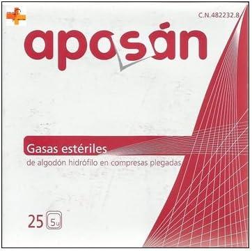Aposán Gasas Estériles de Algodón Hidrófilo 25 unds x 5: Amazon.es ...