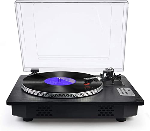 Record Player with Speakers Turntable for Vinyl Records Bluetooth in Out USB Direct Vinyl to MP3 Recording Belt Drive Professional LP Phonograph Automatic Vintage Solid Record Player, Black