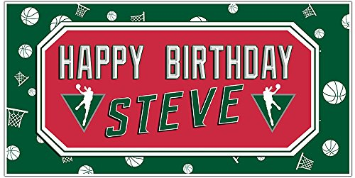 Basketball Party Red and Green Background Personalized Custom Birthday Banner for $<!--$16.50-->