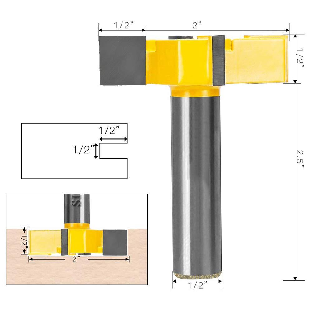 v/ástago de 1//2 pulgadas fresa de madera Broca para fresadora de superficie de aler/ón punta de carburo durable herramienta de carpinter/ía