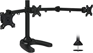 Mount-It! Triple Monitor Stand | 3 Monitor Stand Mount | Free Standing and Grommet Bases | Fits 19 20 21 22 23 24 Inch Computer Screens | Three Heavy Duty Adjustable Arms | VESA 75 100 Compatible