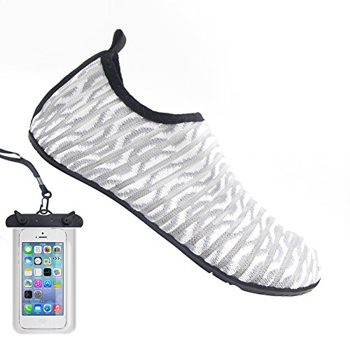Bopika Barefoot Shoes Water Sports Shoes Quick-Dry Aqua Yoga Socks for Women Men Kids (S: (Women:5.5-6.5/Men:4-5), C-Grey Stripe)