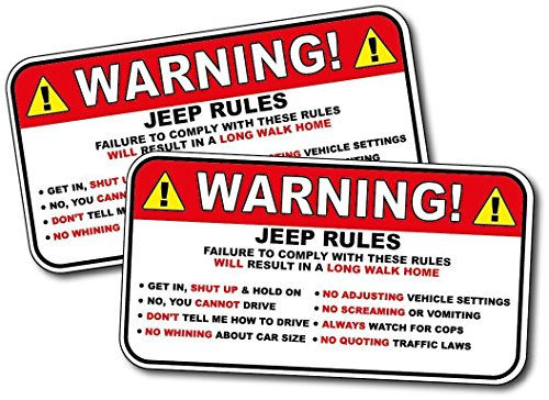 Decal Set Warning - Set of 2 - Jeep Warning Stickers 5