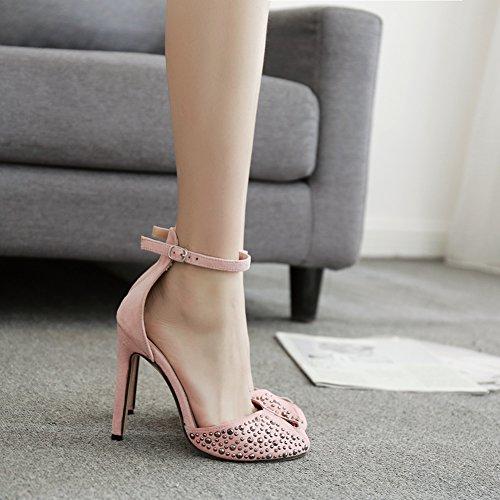 Imitación Mujer 938 Hueco Correa KJJDE Zapatos Stiletto Baile Sandalias Tobillo Princesa Zapatos Pink Plataforma Alta Diamantes De 21 GZSL Sexy Fiesta Tacón XCrwzEqC