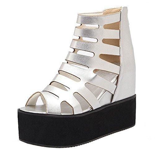 Silver Women's Summer Sandals Heel Wedges TAOFFEN Shoes 22 a4THq4