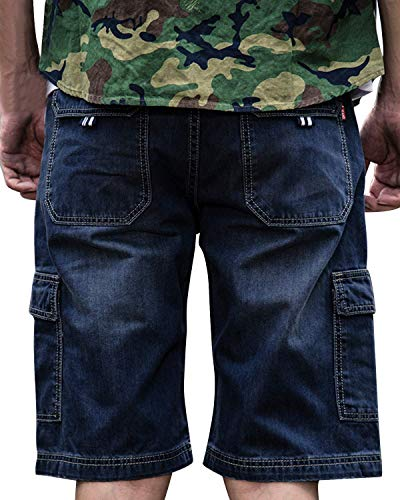 Haseil Mens Loose Straight Fit Cropped Jeans Denim Shorts with Cargo Pockets