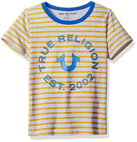 (True Religion Boys Logo Tee Shirt, Jersey Stripe Yellow, 6)