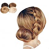 PrettyWit Hair Bun Updo Hairpiece Ribbon Ponytail Extensions Donut Chignons Hair Piece Wig Chignons Hair Bun Tray Hairpieces-Light Ash Blonde & Bleach Blonde 1003