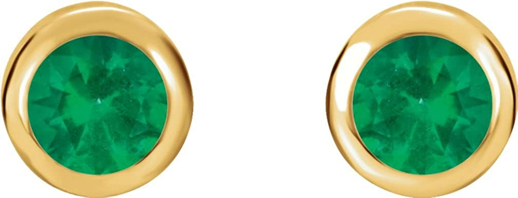 8e2a683ef Amazon.com: Chatham Created Emerald Stud Earrings, 14k Yellow Gold: Jewelry