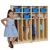 ECR4Kids Birch 8-Section Slim-Fit School Coat Locker with Hooks and Storage for Kids, 48'' Wide