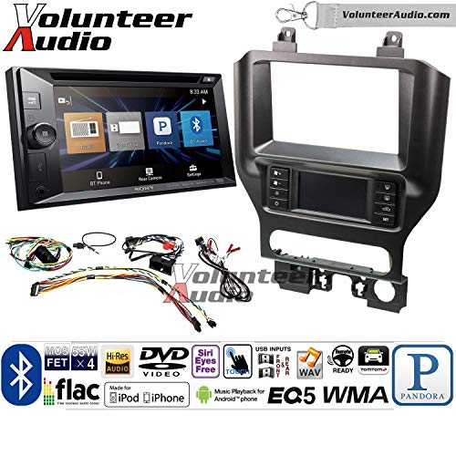 Volunteer Audio Sony XAV-W651BTN Double Din Radio Install Kit with Bluetooth, Pandora, iPhone Control, USB, AUX, Navigation for 2015-2017 Mustang