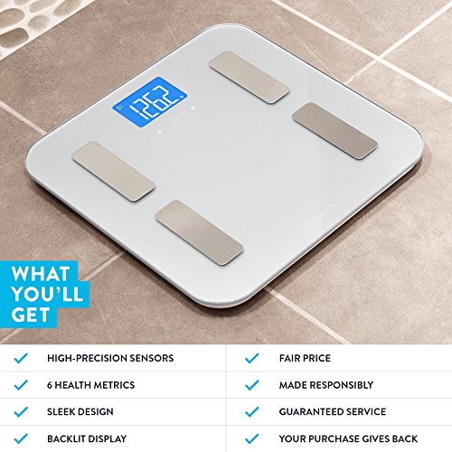 Digital Body Fat Weight Scale by GreaterGoods, Accurate Health Metrics, Body Composition & Weight Measurements, Glass Top, with Large Backlit Display by Greater Goods (Image #3)