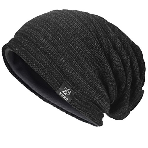 Men's Cool Cotton Beanie Slouch Skull Cap Long Baggy Hip-hop Winter Summer Hat (Twill-Dark Grey) (Twill Beanie Cotton)
