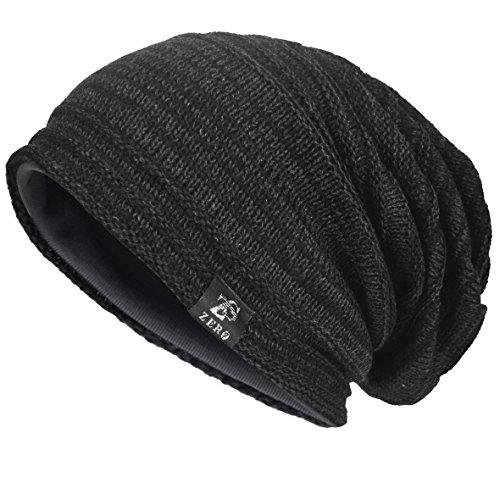 Men's Cool Cotton Beanie Slouch Skull Cap Long Baggy Hip-hop Winter Summer Hat (Twill-Dark Grey) (Twill Cotton Beanie)