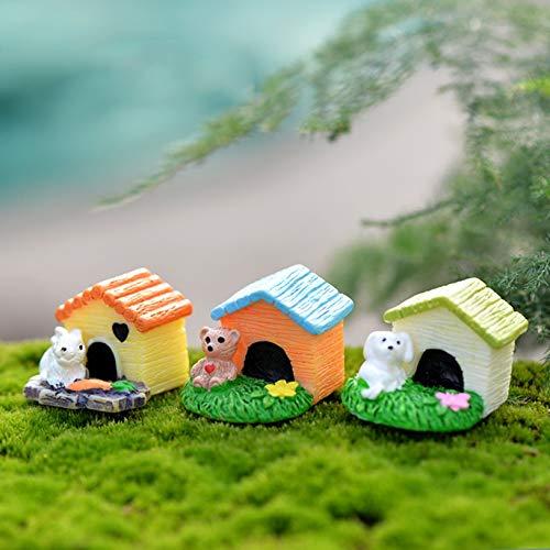 Kiartten House,Chair,Boat&Outdoors - Resin Dog Bear Animal Mini House Home Building Micro Fairy Garden Figurines Miniatures/Terrarium Dollhouse Decor Ornaments DIY 1 Pcs from Kiartten
