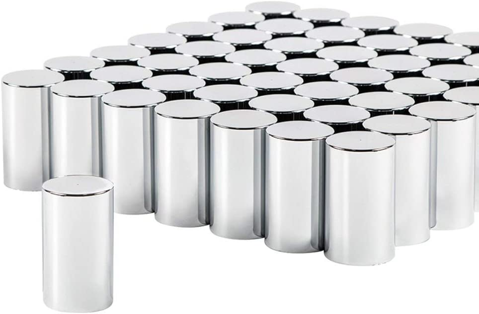 60 Chrome ABS Extra Tall Lug Nut Covers with Flanges for 33mm Nuts