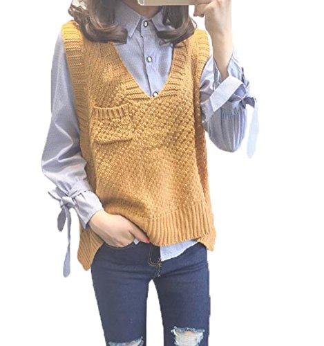 ガロン国民デモンストレーションアイビエツ(AIBIETU)レディース Vネック ニット セーター ベスト カジュアル ファッション ゆったり ニット ベスト