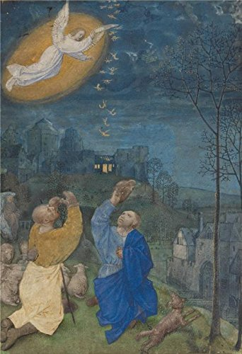 ['The Annunciation To The Shepherds, Late 1470s - About 1480 By Master Of The Houghton Miniatures' Oil Painting, 24x35 Inch / 61x89 Cm ,printed On Perfect Effect Canvas ,this High Quality Art Decorative Canvas Prints Is Perfectly Suitalbe For Hallway Artwork And Home Artwork And] (Cobra Kai Costume Large)
