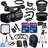 Canon XF100 Professional Camcorder with 10x HD Video lens, Compact Flash (CF) Recording with Extra 2pc 32GB High Speed Memory Cards + Accessory Bundle - International Version