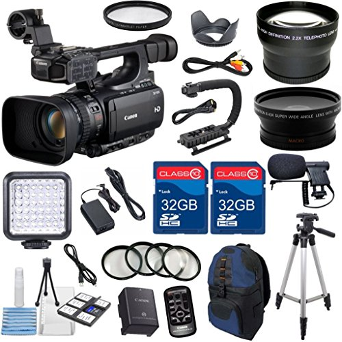Canon XF100 Professional Camcorder with 10x HD Video lens, Compact Flash (CF) Recording with Extra 2pc 32GB High Speed Memory Cards + Accessory Bundle - International Version by ALS VARIETY
