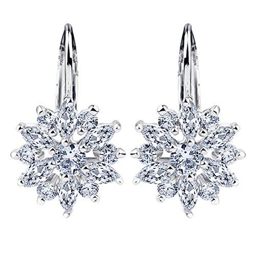 BAMOER 18K White Gold Plated Cubic Zirconia Snowflake Lever Back Earrings for Women Girls CZ Jewelry Stud Fashion Earrings 3 Style White Gold & White CZ