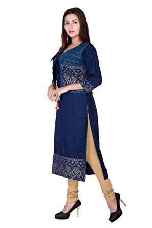 Marlin Women S Rayon 2 Piece Long Kurti With Jacket Amazon In