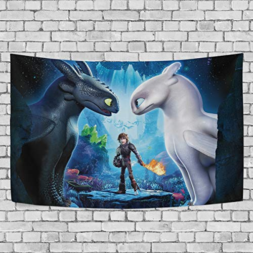 TRE ONE How to Train Your Dragon Black an White Dragons Tapestry Wall Hanging Decoration for Apartment Home Art Wall Tapestry for Bedroom Living Room Dorm 60 x 51 inches