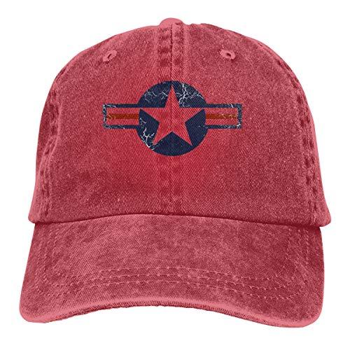 Rebrseecca Mo USAF Roundel Baseball Cap Unisex Retro Adjustable Washed Denim Hat