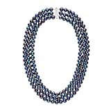 7.5-8.0 mm Triple-Strand AA+ Black Freshwater Cultured Cultured Pearl Necklace - 14K White Gold