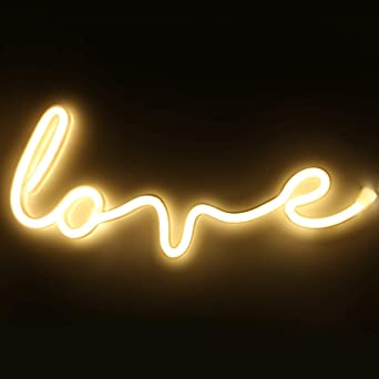 Xiyunte Love Neon Light Wall Decor Battery Or Usb Powered Led Love Lights White Neon Signs Light Up For Kids Room Party Valentine S Day Wedding Christmas Wedding Amazon Co Uk Lighting