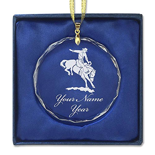 Rodeo Christmas Ornament (Round Crystal Christmas Ornament - Bronco Rider - Personalized Engraving Included)