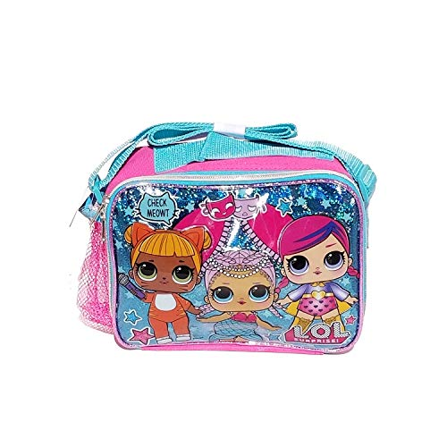 LOL Surprise! Hot Blue Girls' Insulated School Lunch Bag- Miss Bee & Diva -