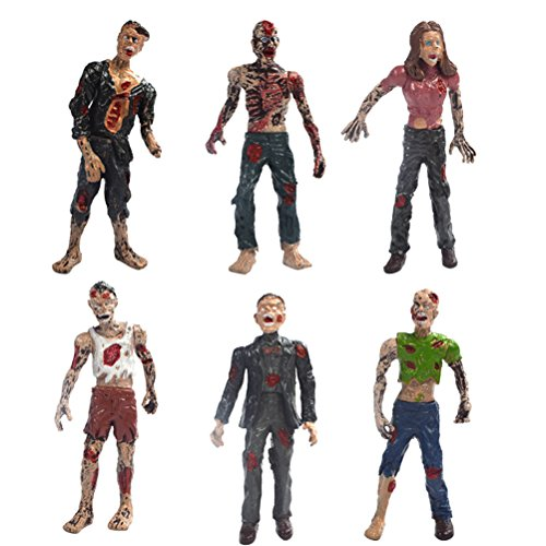 HAPTIME Set of 6 Zombie Action Figures 4-inch Detailed Walking Dead Toys Terror Corpse Dolls