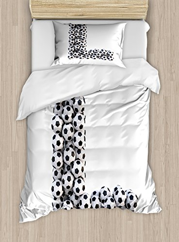 Ambesonne Letter L Duvet Cover Set, Letter L with Football Theme Soccer Balls in Vertical and Horizontal Order, Decorative 2 Piece Bedding Set with 1 Pillow Sham, Twin Size, White Black