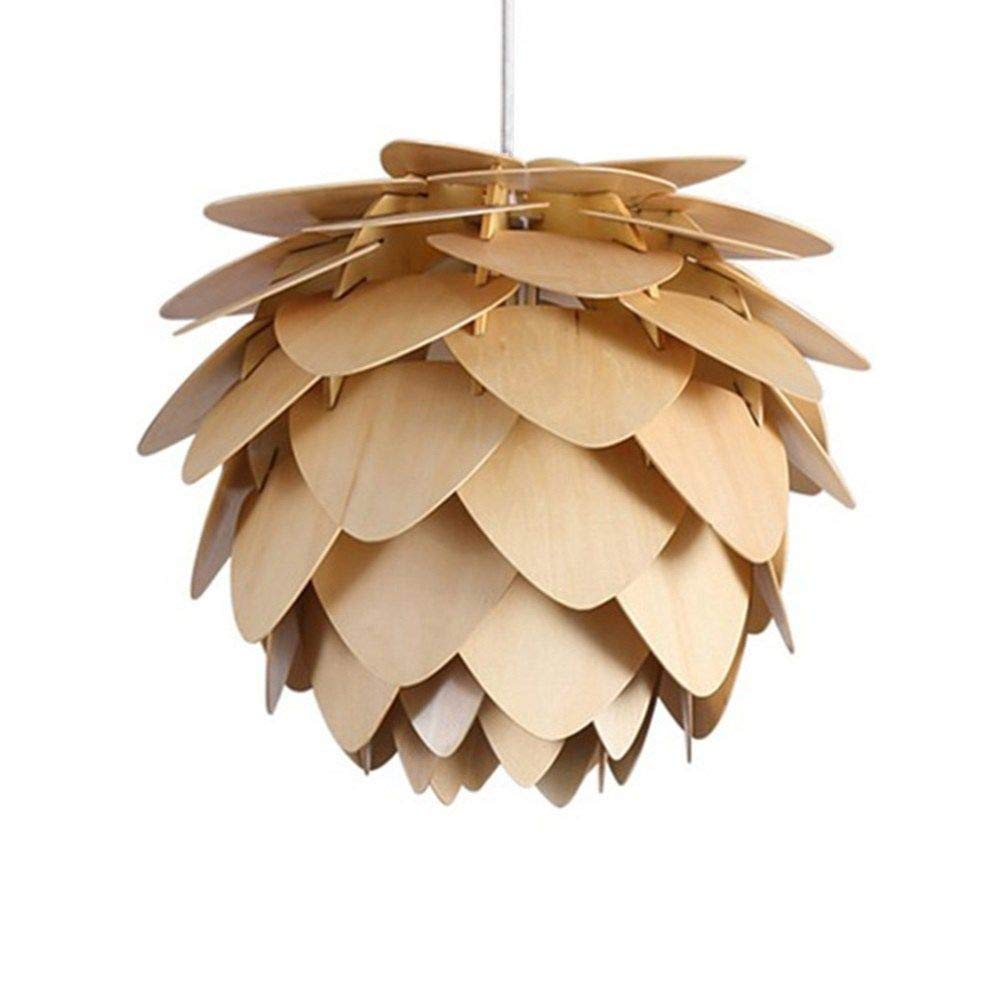 Modern Style Hand Craft Wooden Pine Cone Pendant Light Hanging Fixture PineCone Ceiling Lamp (9.8 Inch)