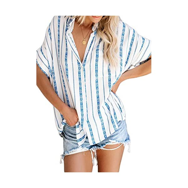 HOTAPEI Womens Casual V Neck Striped Cuffed Sleeve Button Down Collar Blouses Shirts Tops