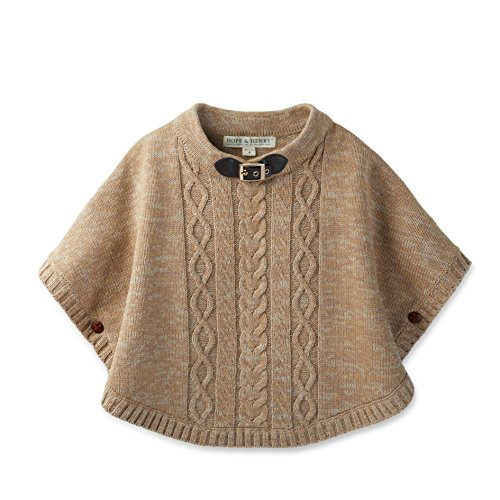 Hope & Henry Girls' Sweater Cape Tan